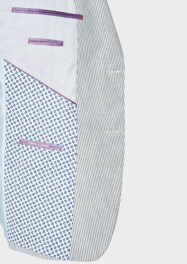 Veste coordonnable Slim en coton stretch bleu indigo à rayures - Father and Sons 33633