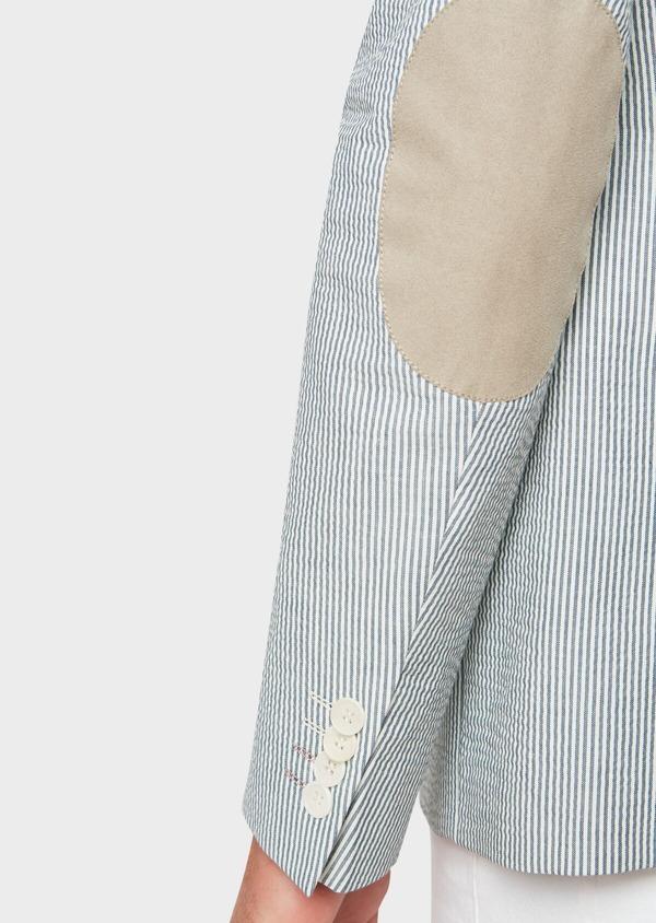Veste coordonnable Slim en coton stretch bleu indigo à rayures - Father and Sons 33632