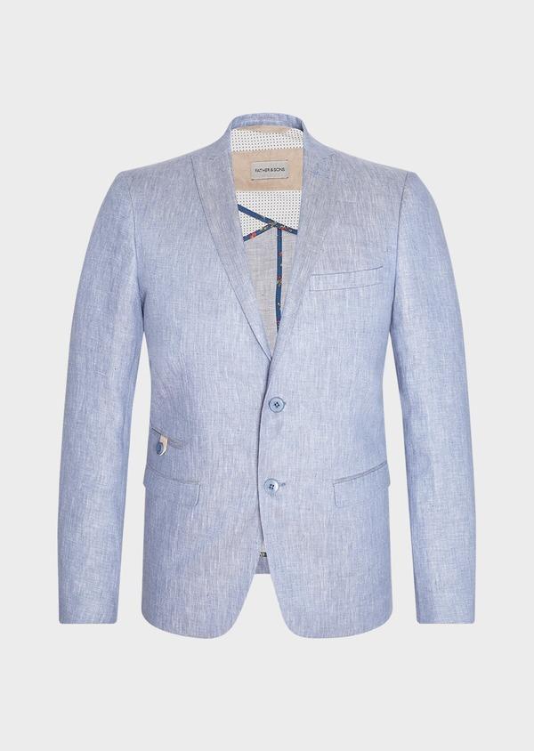 Veste coordonnable Slim en lin uni bleu turquin - Father and Sons 33663
