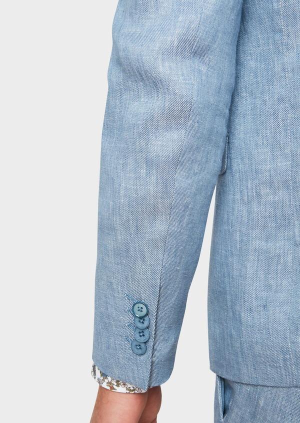 Veste coordonnable Slim en lin uni bleu turquin - Father and Sons 33668