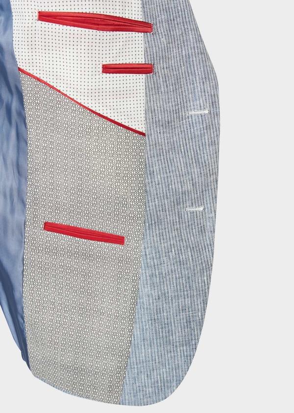 Veste coordonnable Slim en lin uni bleu turquin - Father and Sons 33675