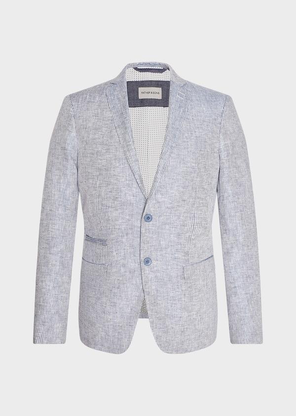 Veste coordonnable Slim en lin uni bleu turquin - Father and Sons 33670
