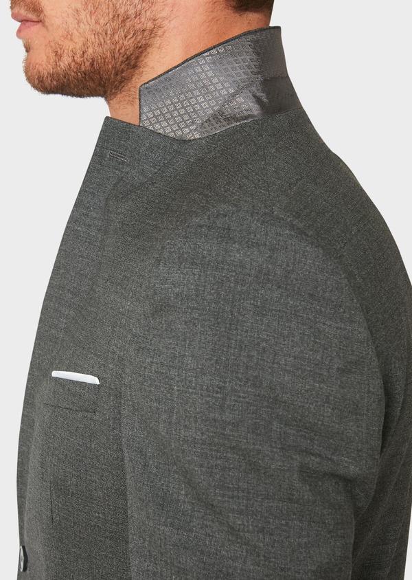 Veste de costume voyage Regular en laine unie grise - Father and Sons 31838