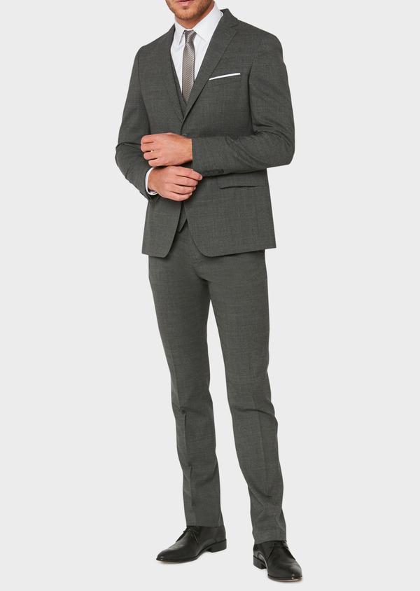 Veste de costume voyage Regular en laine unie grise - Father and Sons 31836