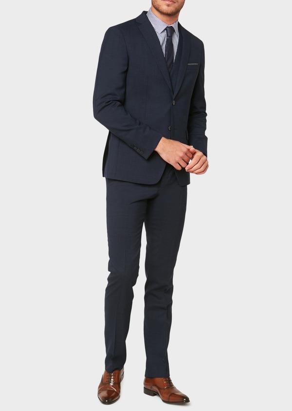 Veste de costume voyage Regular en laine unie bleu marine - Father and Sons 31841