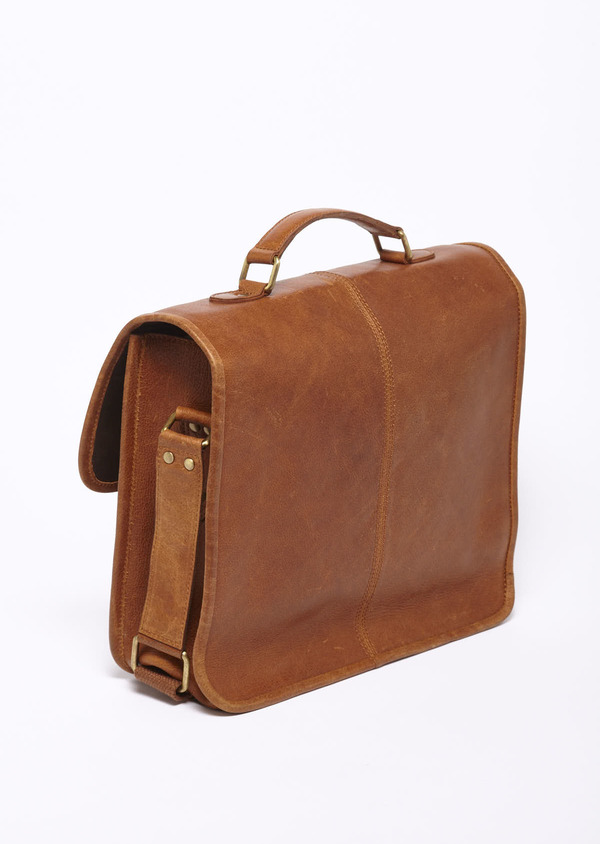 Sac cartable en cuir camel - Father and Sons 7782