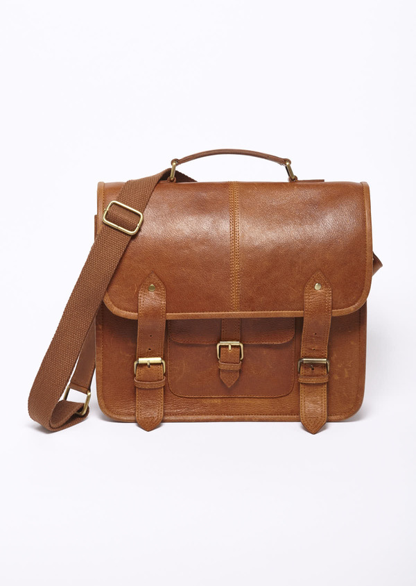 Sac cartable en cuir camel - Father and Sons 7781