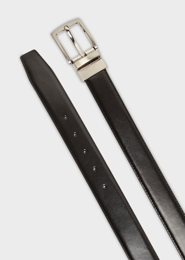 Ceinture ajustable et réversible en cuir noir - Father and Sons 8577
