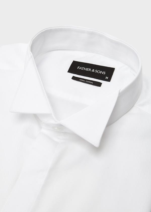 Chemise habillée Regular en satin uni blanc col cassé - Father and Sons 8605