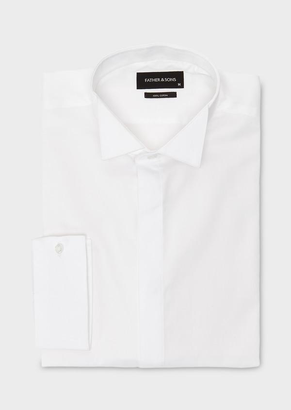 Chemise habillée Regular en satin uni blanc col cassé - Father and Sons 8603
