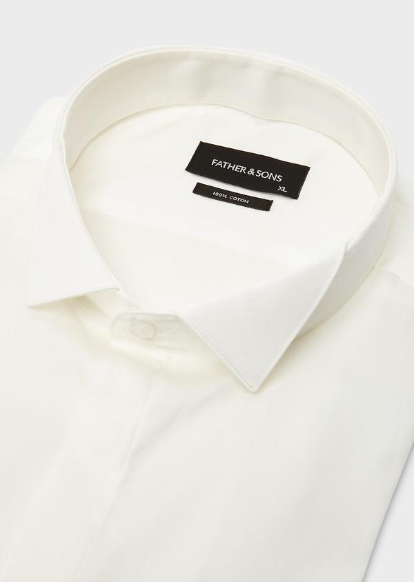 Chemise habillée Regular en satin uni écru col cassé - Father and Sons 8612