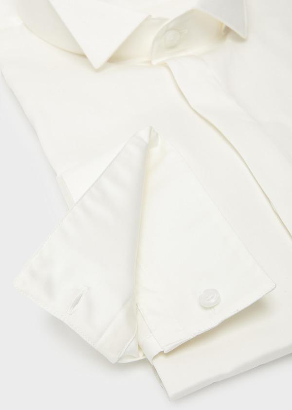 Chemise habillée Regular en satin uni écru col cassé - Father and Sons 8613