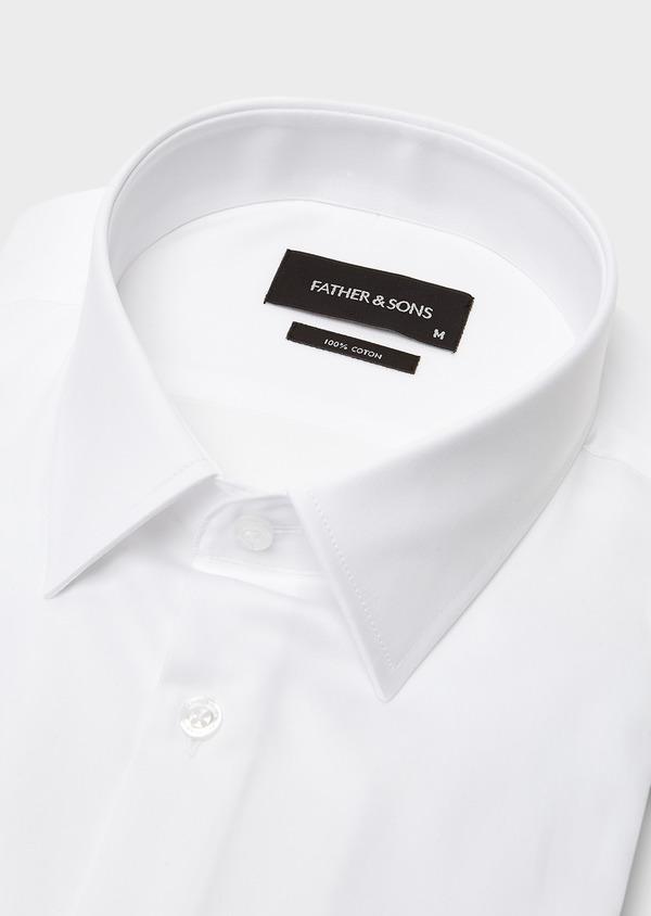 Chemise habillée Slim en satin uni blanc - Father and Sons 8591