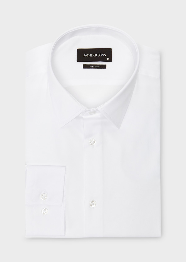 Chemise habillée Slim en satin uni blanc - Father and Sons 8589
