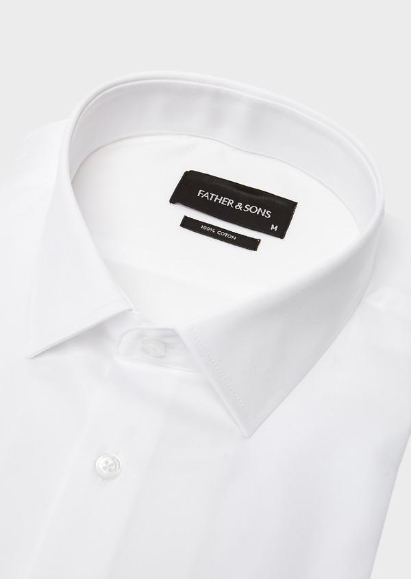 Chemise habillée Slim en satin blanc à poignets mousquetaires - Father and Sons 8626