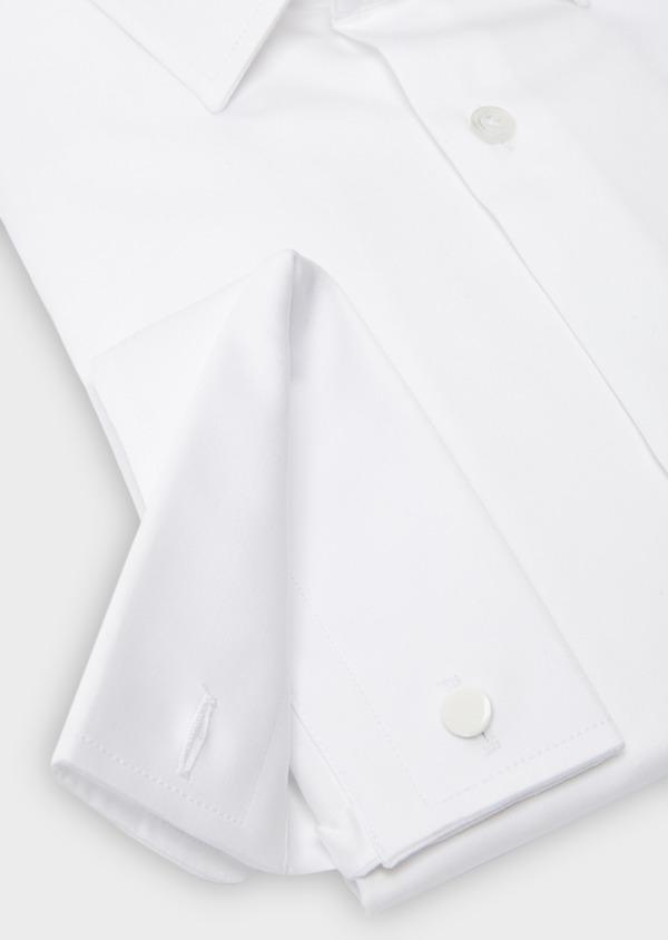 Chemise habillée Slim en satin blanc à poignets mousquetaires - Father and Sons 8627