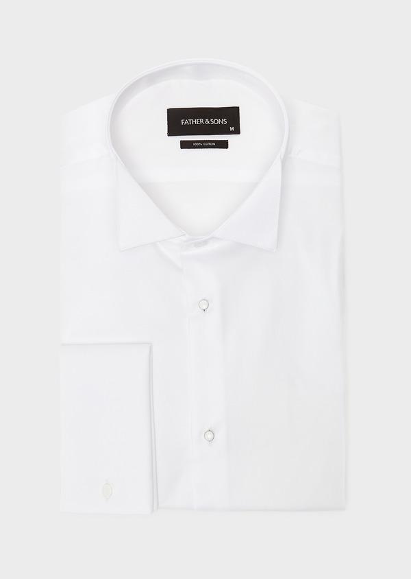 Chemise habillée Slim en satin blanc à col cassé - Father and Sons 8631