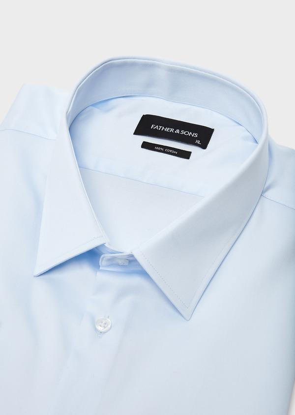 Chemise habillée Slim en satin uni bleue claire - Father and Sons 8619