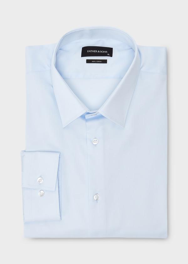 Chemise habillée Slim en satin uni bleue claire - Father and Sons 8617