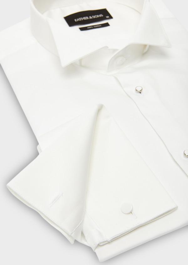 Chemise habillée Slim en satin écru à col cassé - Father and Sons 8641
