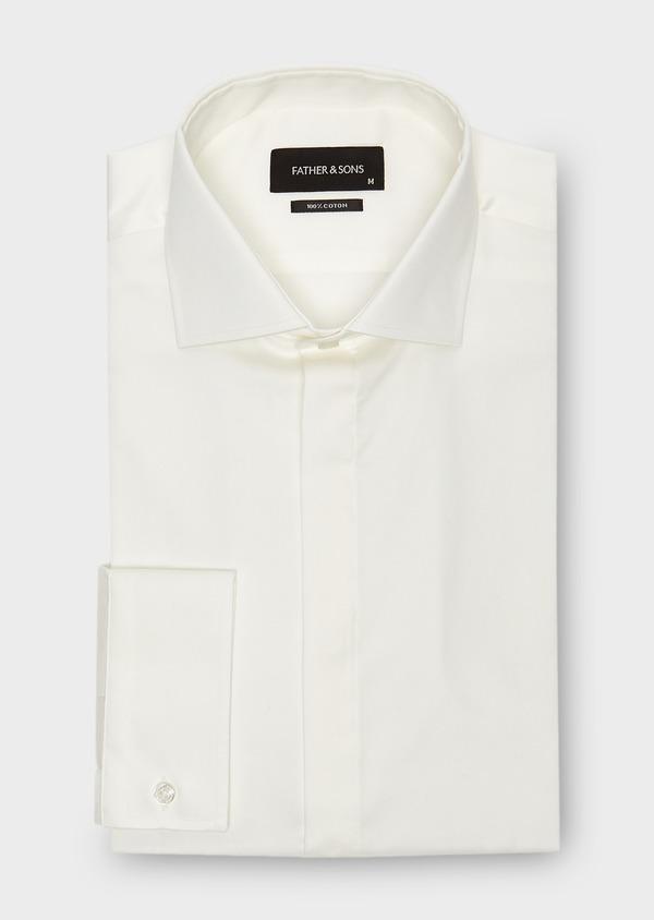 Chemise habillée Slim en coton sergé écru à col italien - Father and Sons 8645
