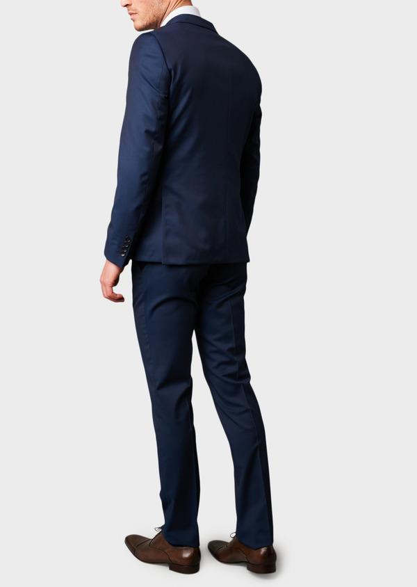 Costume 2 pièces Regular en laine Vitale Barberis Canonico unie bleu indigo - Father and Sons 8682