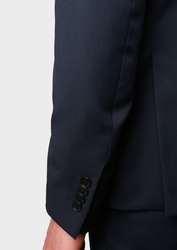 Costume 2 pièces Regular en laine Vitale Barberis Canonico unie bleu marine - Father and Sons 8657