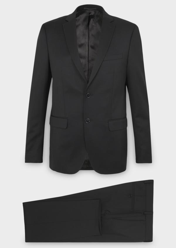 Costume 2 pièces Regular en laine Vitale Barberis Canonico unie noire - Father and Sons 8661