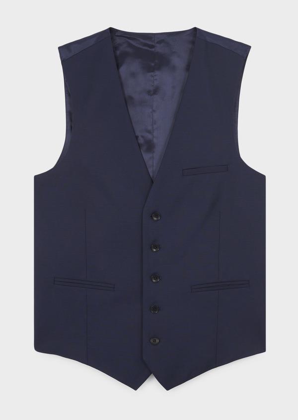 Gilet de costume en laine Vitale Barberis Canonico unie bleu indigo - Father and Sons 8739