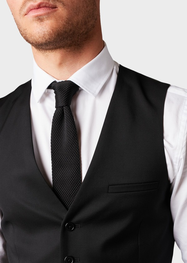 Gilet de costume en laine Vitale Barberis Canonico unie noire - Father and Sons 8727