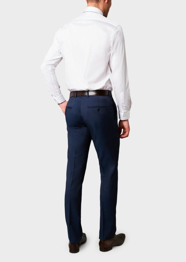 Pantalon de costume Regular en laine Vitale Barberis Canonico unie bleu indigo - Father and Sons 8818
