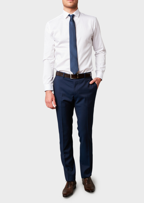 Pantalon de costume Regular en laine Vitale Barberis Canonico unie bleu indigo - Father and Sons 8817