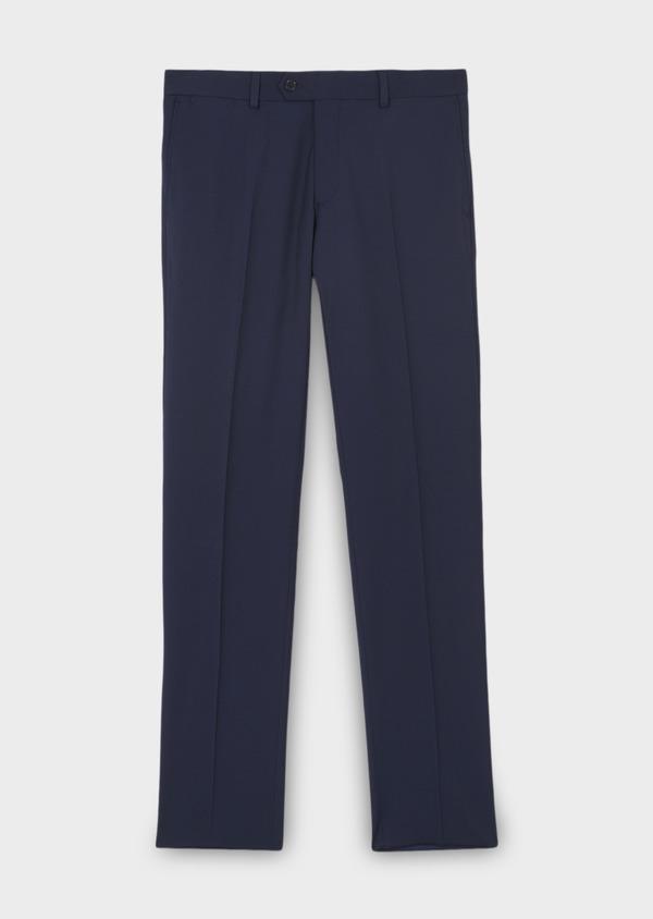 Pantalon de costume Regular en laine Vitale Barberis Canonico unie bleu indigo - Father and Sons 8815