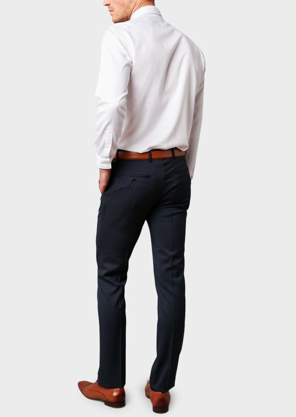 Pantalon de costume Regular en laine Vitale Barberis Canonico unie bleu marine - Father and Sons 8800