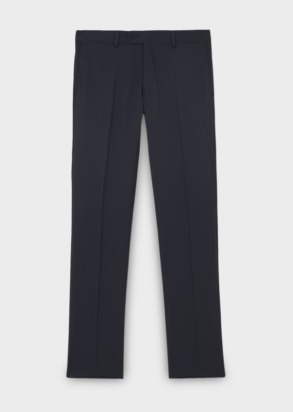 Pantalon de costume Regular en laine Vitale Barberis Canonico unie bleu marine - Father and Sons 8797