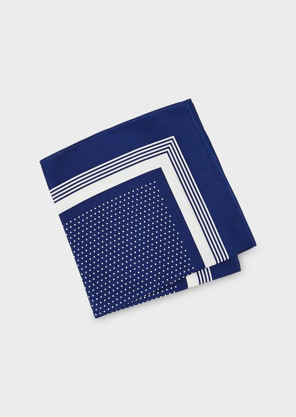 Pochette en soie bleue à pois blancs - Father and Sons 8833