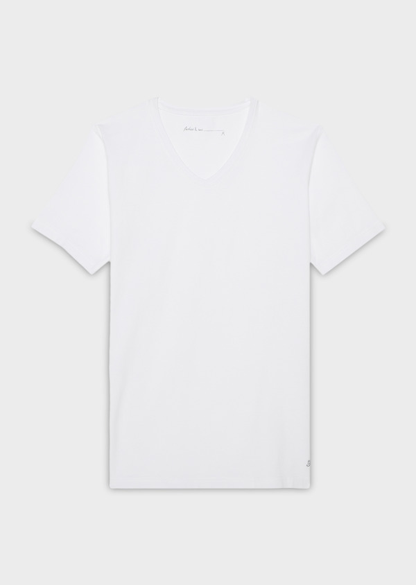 Tee-shirt manches courtes en coton stretch col V uni blanc - Father and Sons 9198