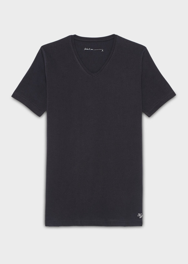 Tee-shirt manches courtes en coton stretch col V uni bleu marine - Father and Sons 9202