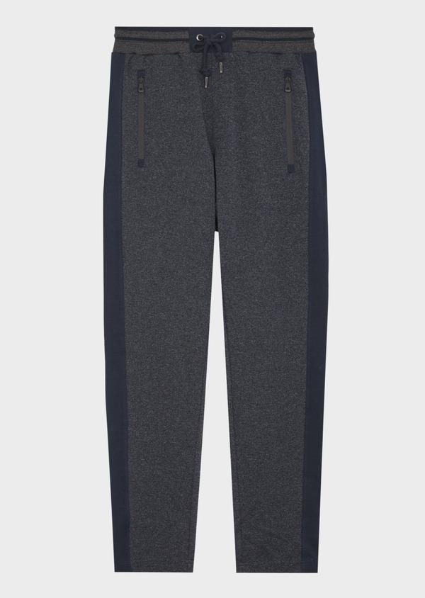 Pantalon jogging en coton mélangé uni bleu - Father and Sons 42298