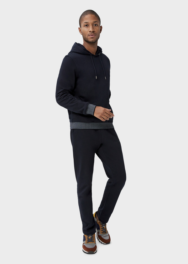 Pantalon jogging en coton uni bleu marine - Father and Sons 42295