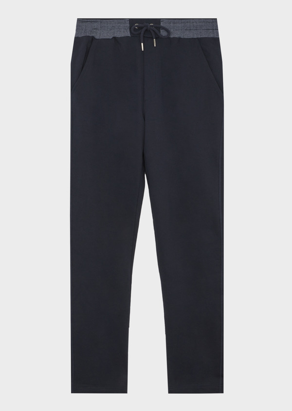 Pantalon jogging en coton uni bleu marine - Father and Sons 42294