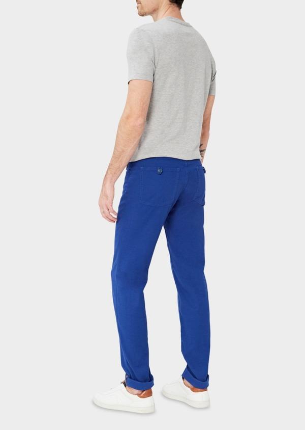 Pantalon casual skinny en coton stretch uni bleu - Father and Sons 37340