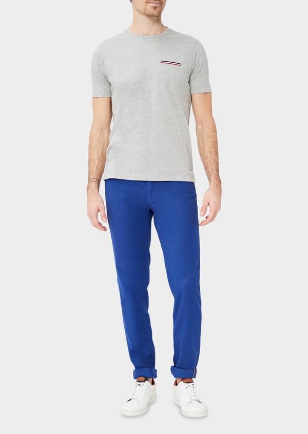 Pantalon casual skinny en coton stretch uni bleu - Father and Sons 37341