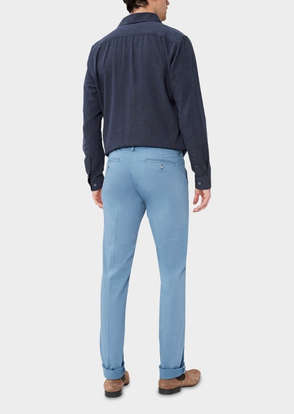 Chino slack skinny en coton stretch uni chambray - Father and Sons 37346