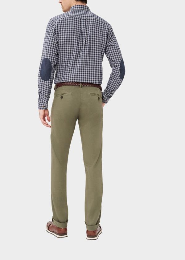 Chino slack skinny en coton stretch uni vert kaki - Father and Sons 37350