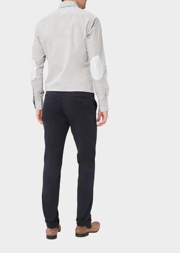 Pantalon casual skinny en twill fantaisie bleu marine - Father and Sons 37330