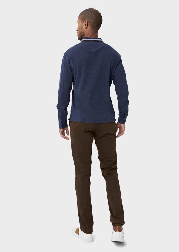 Chino slack skinny en coton stretch cognac à pois - Father and Sons 42174