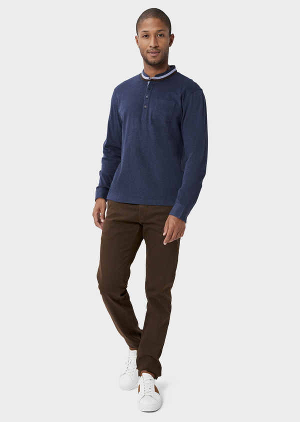 Chino slack skinny en coton stretch cognac à pois - Father and Sons 42173