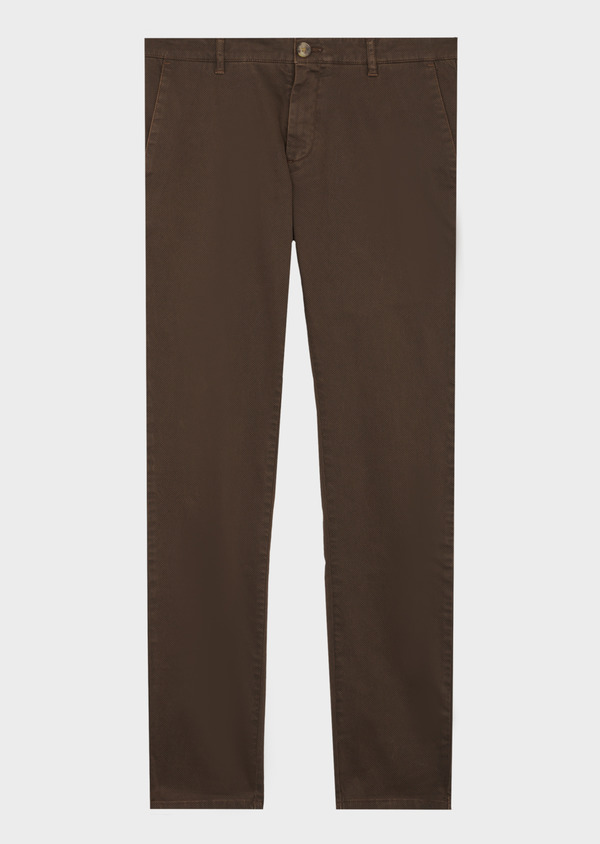 Chino slack skinny en coton stretch cognac à pois - Father and Sons 42172