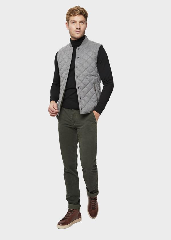 Chino slack skinny en coton stretch uni vert kaki - Father and Sons 42154